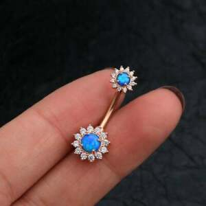 Blue Opal & Diamond Navel Piercing Button Belly Ring in 14K Yellow Gold Overlay