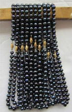 "wholesale 10 PCS 7-8mm black Freshwater pearl necklace 18"" JN991"