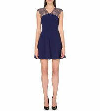 $355 THE KOOPLES CREPE LACE BUSTIER FIT & FLARE DRESS NAVY BLUE L - RUNS SMALL