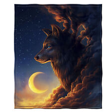 Dawhud Direct Golden Moon Wolf Super Soft Plush Fleece Throw Blanket