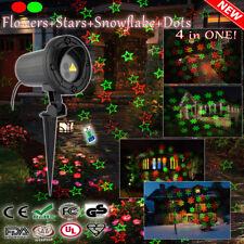 Red & Green Snowflake, Stars, Flowers & Firefly Christmas Garden Laser Light
