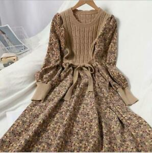 Womens Chic Corduroy Knitted Stitching Floral Long Sleeve Flared Midi Dress SKGB