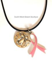 Pink Ribbon Guardian Angel Necklace Breast Cancer Silver Awareness Cord Plated