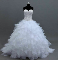 White/Ivory Organza Wedding Dress Sweetheart Bridal Ball Gown Custom Size 2-26++
