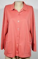 APPLESEED'S Coral Pink Shirt Jacket 0X Long Sleeves Front Pockets Unlined