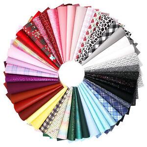 20pcs/Set Random Colours Mix 21cm x 30cm Faux Leather Fabric Sheets Bundle Pack