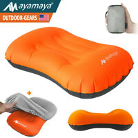 Inflatable Camping Pillow Portable Ultra Light Outdoor Travel Hike W/ Pillowcase