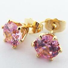 STUD EARRINGS GENUINE REAL 18K  YELLOW G/F GOLD PINK DIAMOND SIMULATED 1.00 ct