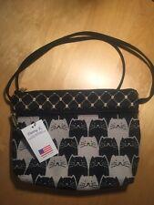 Danny K Beverly Hills Tapestry Shoulder Bag Handbag Black & Beige Cats NWT