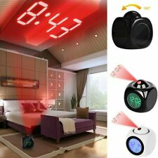 Digital Alarm Clock LED Wall/Ceiling Projection LCD Voice Talking Temperature O