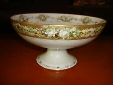 HAVILAND LIMOGES HAND PAINTED COMPOTE, FRUIT BOWL,  ROSES & GOLD
