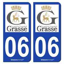 2 Stickers plaque immatriculation auto | 06 Grasse - Ville | 06130