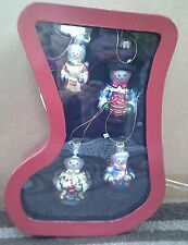 NEW 4  Snowmen Christmas Ornaments In Stocking Shaped Box