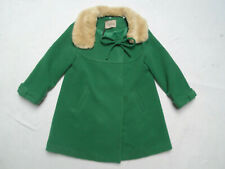 VINTAGE STYLE GREEN PRINCESS COAT WITH FAUX FUR COLLAR