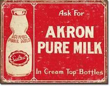 Vintage Design USA Küchen Deko Metall Schild Pure Milk - Akron Milch