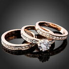 3-In-1 Women's CZ Wedding Ring Set White/Yellow/Rose Gold Filled Engagement Band