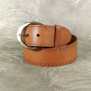 Fossil Women's Belt Size M Brown Genuine Leather Silver Studs