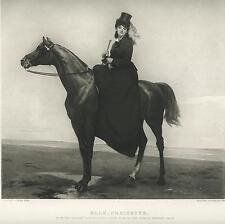 ANTIQUE EQUESTRIAN BEAUTIFUL WOMAN GIRL HORSE BACK RIDER WOMAN OCEAN PRINT