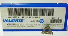 10 PIECES of VALENITE, 16IR 40UN VC29 CARBIDE INSERTS    H303