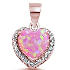 Rose Gold Plated Pink Fire Opal Heart CZ .925 Sterling Silver Pendant Necklace
