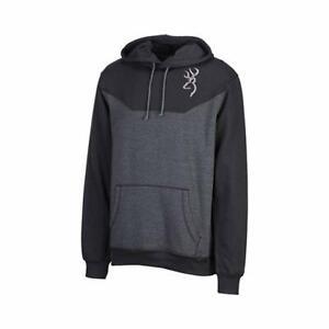 Browning Youth MEDIUM Cohos Hooded Sweatshirt Black & Gray w/ embroidered logo