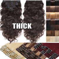Extra Thick Clip in Double Weft Remy Human Hair Extensions Full Head Straight US