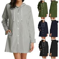 Women Solid Rain Jacket Outdoor Plus Size Waterproof Hooded Windproof Loose Coat