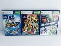 Xbox 360 Lot Of 3 Kinect Games! Sonic Free Riders, Motionsport, Kinect Adventure