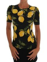 NEW $1060 DOLCE & GABBANA Blouse Top T-shirt Silk Stretch Lemon IT38 / US4 / XS