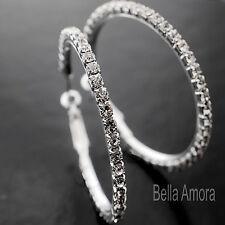 Chapado en Plata Cristal Diamante Estrás Pendientes Aro 40mm Damas Regalo Reino Unido -228