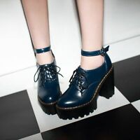 Punk Lace Buckle Knight New High Chunky Heels Pumps Womens Leather Summer Boots
