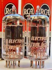 """1957 RCA USA 12AX7 ECC83 LONG BLACK-PLATE """"D-GETTER"""" MATCH PAIR HIGHEST ECHELON"""