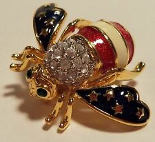 """Joan Rivers """"Patriotic""""  Stars and Stripes Bee Pin Retired"""