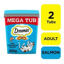 2 x 350g Dreamies Adult Cat Treats Tubs Tub With Salmon Cat Biscuits (700g)