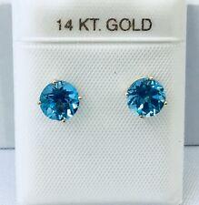 NEW 14K Yellow Gold Genuine Blue Topaz Gemstone Stud Earrings