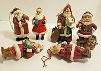 6 Santa Ornaments Resin Material 3 3/4  inches Tall