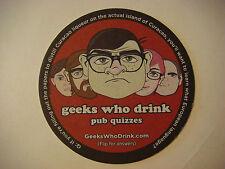 Beer Coaster Bar Mat ~*~ GEEKS WHO DRINK Quizmaster Trivia; Dutch Curacao Liquor