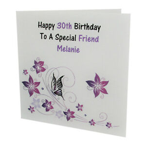 HANDMADE PERSONALISED Butterfly FEMALE Relation BIRTHDAY CARD 18th 21st 30th
