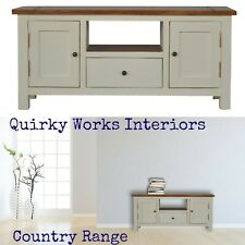 Country Media TV Stand Cabinet Storage Unit White Shabby Chic Vintage Style