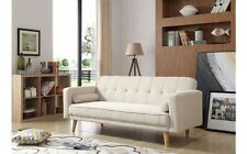 3 Seater Luxury Sofa Bed Modern with Mechanism Microfiber Fabric Sofa Bed Beige