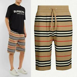 Burberry Striped Merino Wool Drawstring Beige Men's Shorts Size M