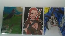 Lot of 3 ACEO  Cute Drawings Adorable Monster Smoking, Female Fighter, Cat Bird