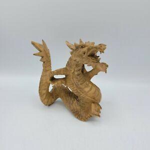 Glücks Drache Holz skulptur FENG SHUI handgefertigt 10 cm
