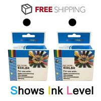 2 Pack Black Ink For HP 63XL 63 Envy 4512 4516 4520 OfficeJet 3830 4650 4652