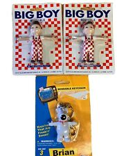 Family Guy Brian Key Chain Action Figure & (2) Bendable BIG BOY toys Lot Vintage