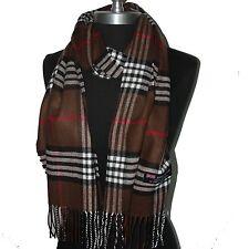 Echarpe  scarf  homme unisexe laine cachemire d'Ecosse carreaux fond MARRON