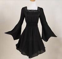 Women Tunic Punk Gothic Victorian Lace Black Plus Size Shirt Dress Blouse