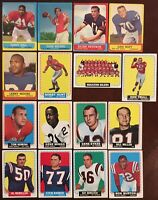 1963, 1964 Topps Football Lot Of 16 Different Cards Incl 2 HOF Fair - Good Cond