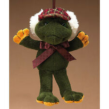 Retired Boyds Green Velvet Frog Ornament - Plaid Hunter's Hat with Fur Trim Bow