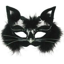Black Transparent Cat Eye Mask - Fancy Dress Headband Masquerade Eye Marabou